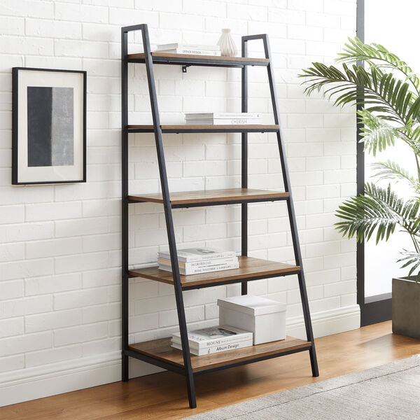 Arlo Reclaimed Barnwood Five Shelf Ladder Bookshelf, image 2
