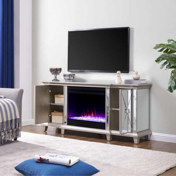 Toppington Mirror and silver Mirrored Electric Fireplace with Media Console, image 4