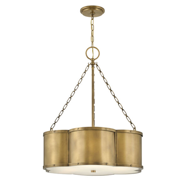 Chance Heritage Brass Three-Light Pendant With Etched Lens Glass, image 1
