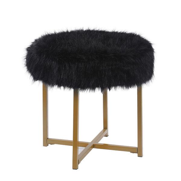 Faux Fur Round Ottoman - Black, image 1