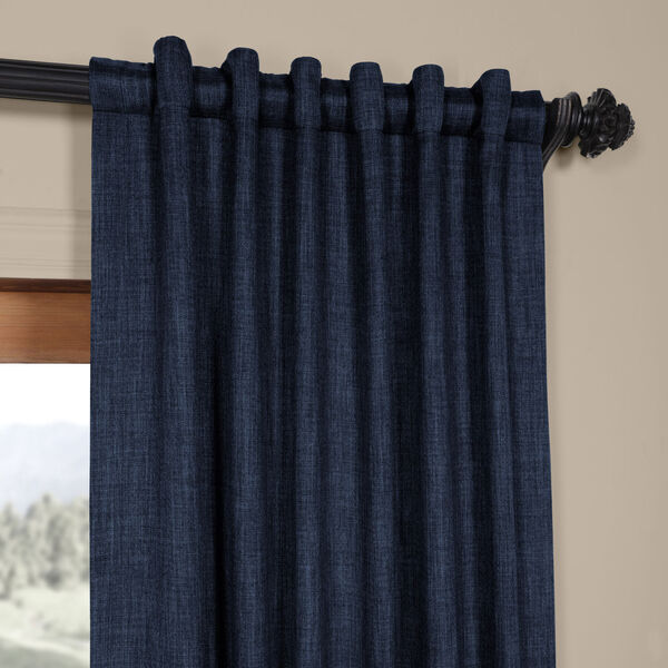 Blue Indigo 108 x 50 In.Faux Linen Blackout Curtain Single Panel, image 4