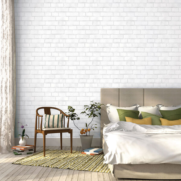 Brick White Textured 33 ft. L x 20.5 In. W Removable Wallpaper, image 3