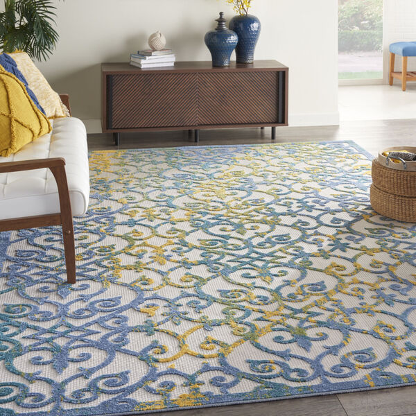 Aloha Ivory and Blue 9 Ft. 6 In. x 13 Ft. Rectangle Indoor/Outdoor Area Rug, image 1