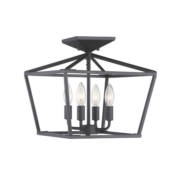 Townsend Matte Black Four-Light Semi-Flush, image 4