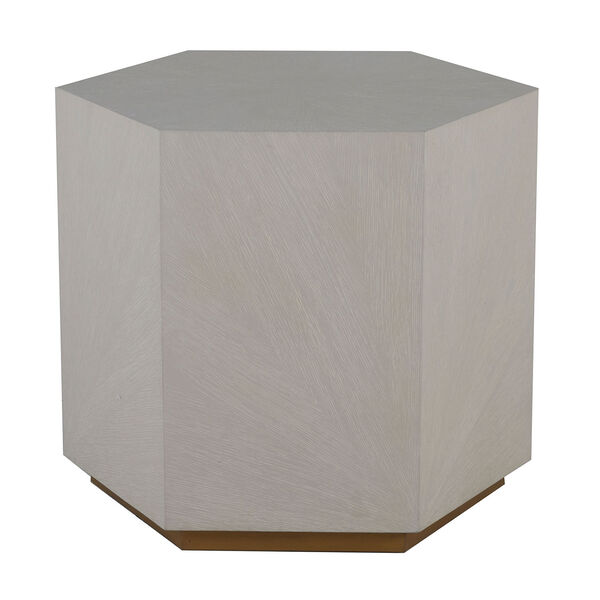 Winslet Cerused White and Stain Gold 26-Inch Side Table, image 2