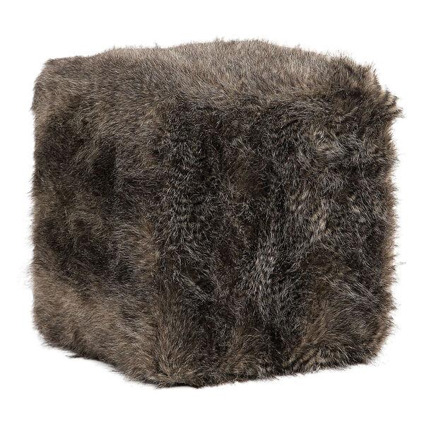 Jayna Charcoal Brown Fur Ottoman, image 1