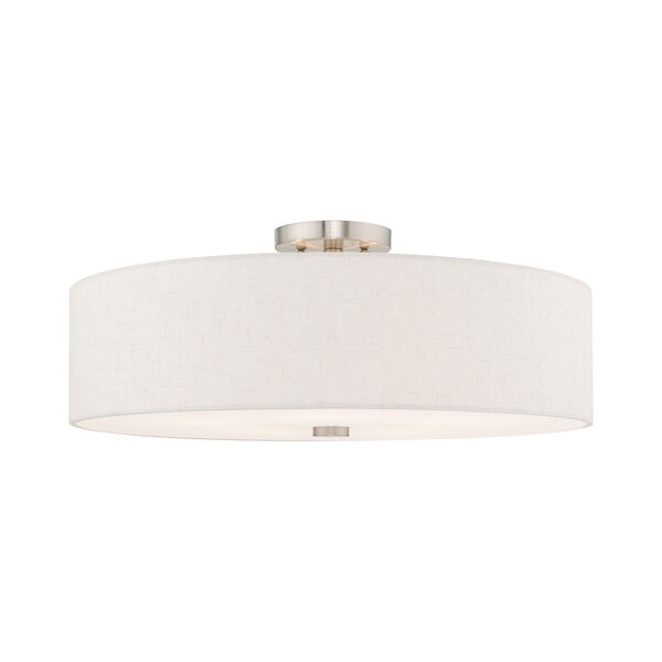 Meridian Brushed Nickel 22-Inch Five-Light Ceiling Mount with Hand Crafted Oatmeal Hardback Shade, image 1