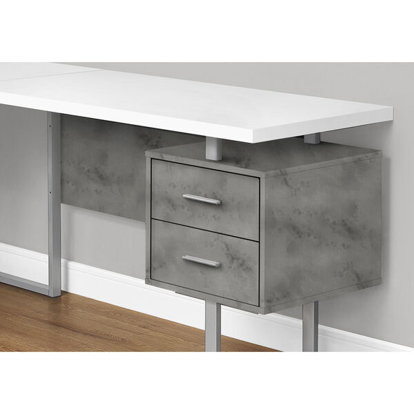 White and Black 71-Inch L-Shaped Computer Desk, image 3