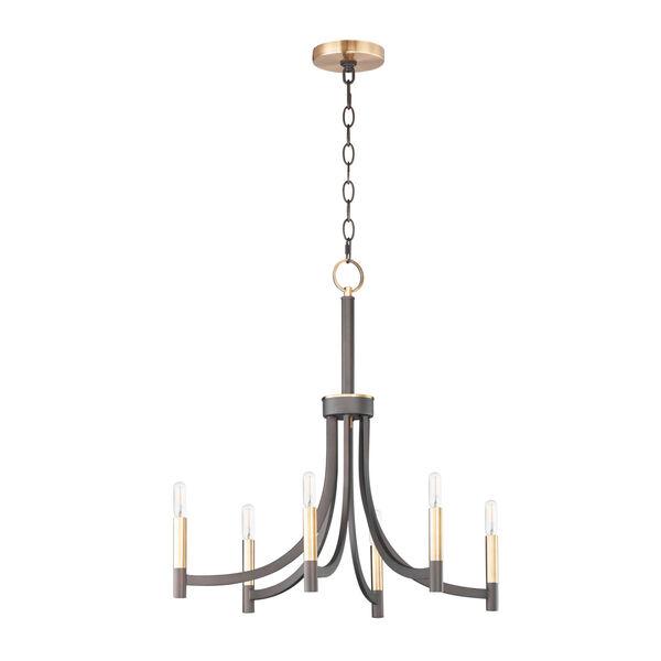 Lyndon Bronze and Antique Brass Six-Light Chandelier, image 1