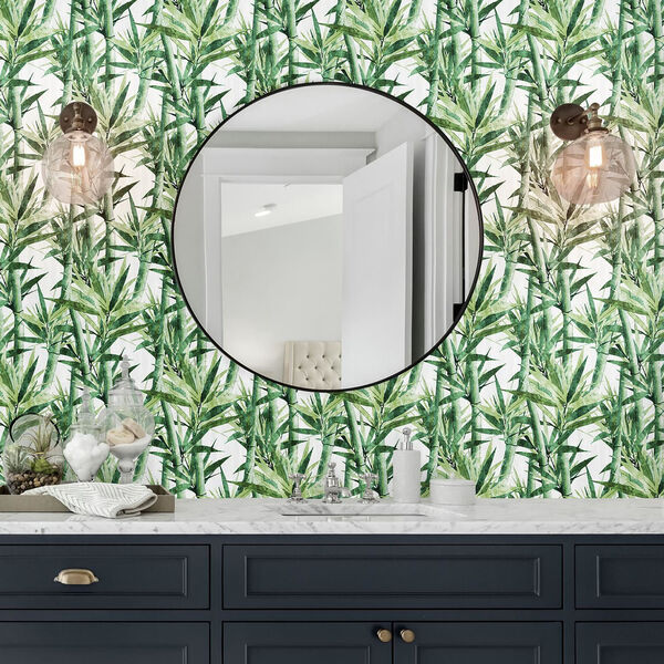 Lucky Bamboo Green And White Peel and Stick Wallpaper, image 2