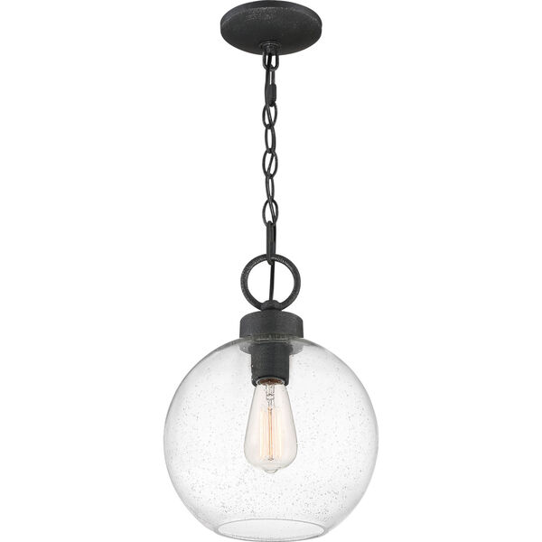 Barre Grey Ash 10-Inch One-Light Outdoor Hanging Lantern with Clear Seedy Glass, image 3