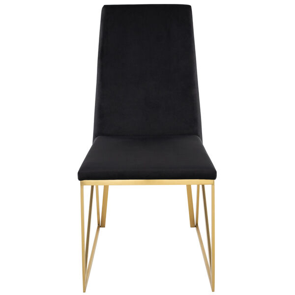 Caprice Black Velour and Brushed Gold Dining Chair, image 6