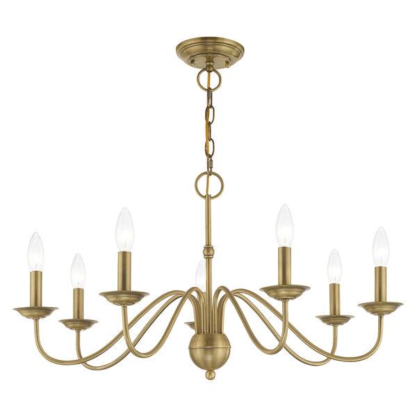 Windsor Antique Brass Seven-Light Chandelier, image 3