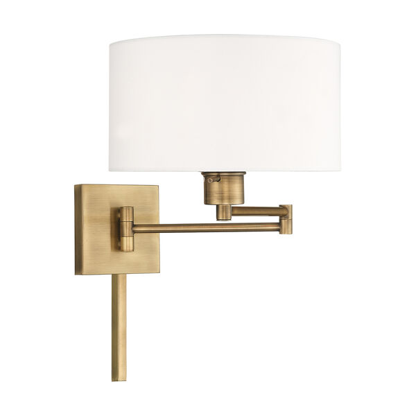Swing Arm Wall Lamps Antique Brass 11-Inch One-Light Swing Arm Wall Lamp with Hand Crafted Off-White Hardback Shade, image 4