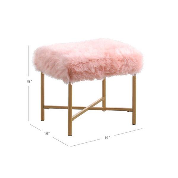 Faux Fur Square Ottoman - Pink, image 5