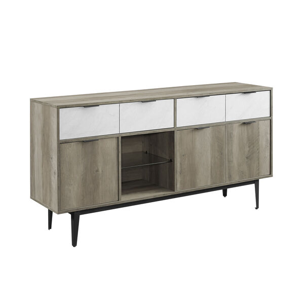 Baltic Faux White and Gray Sideboard with Two Drawer, image 2