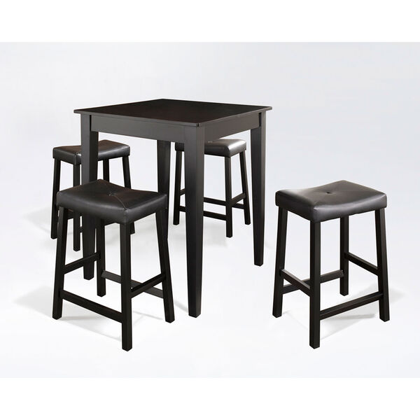 Five Piece Pub Dining Set with Tapered Leg and Upholstered Saddle Stools in Black Finish, image 1