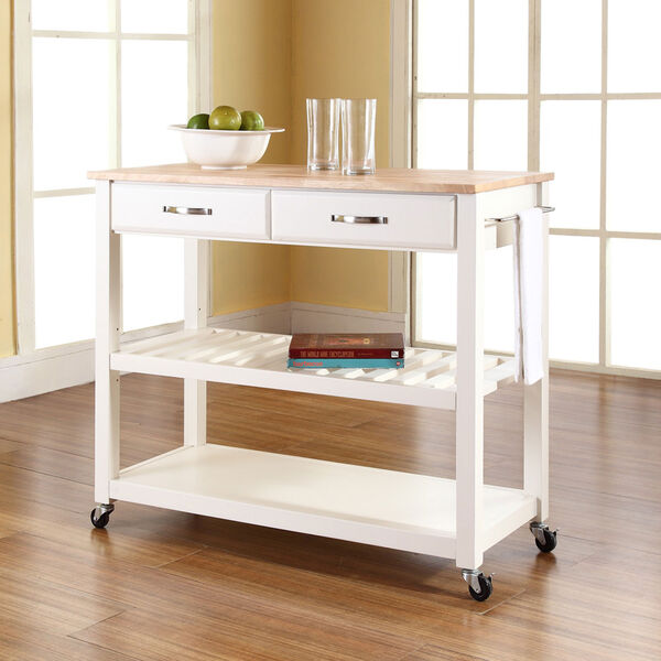 Natural Wood Top Kitchen Cart/Island With Optional Stool Storage in White Finish, image 5