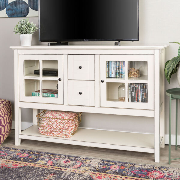 52-Inch Wood Console Table Buffet TV Stand - Antique White, image 1
