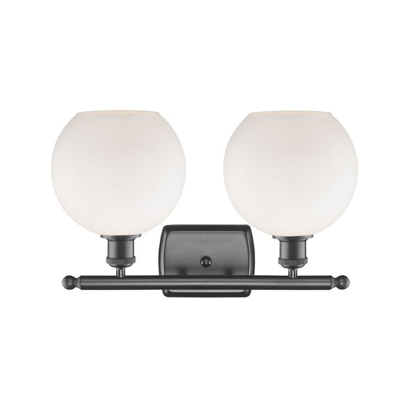 Ballston Oil Rubbed Bronze 16-Inch Two-Light LED Bath Vanity with Matte White Glass Shade, image 2