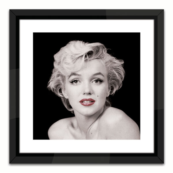 Black Lacuquer Marilyn Monroe Red Lip Wall Frame, image 1