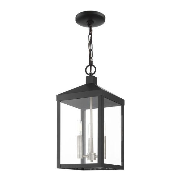 Nyack Black and Brushed Nickel Cluster Three-Light Outdoor Pendant Lantern, image 5