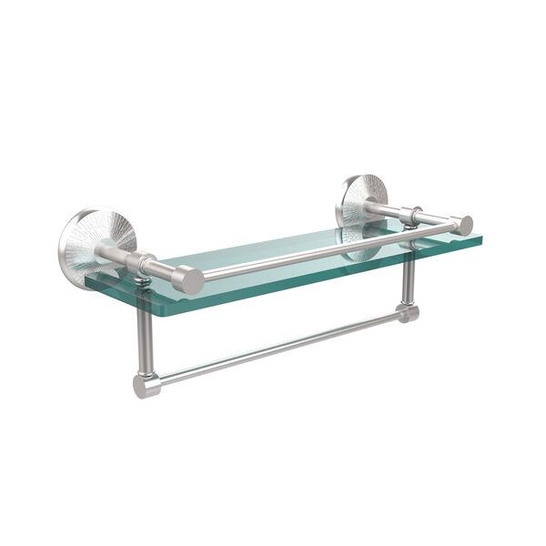16 Inch Gallery Glass Shelf with Towel Bar, Satin Chrome, image 1