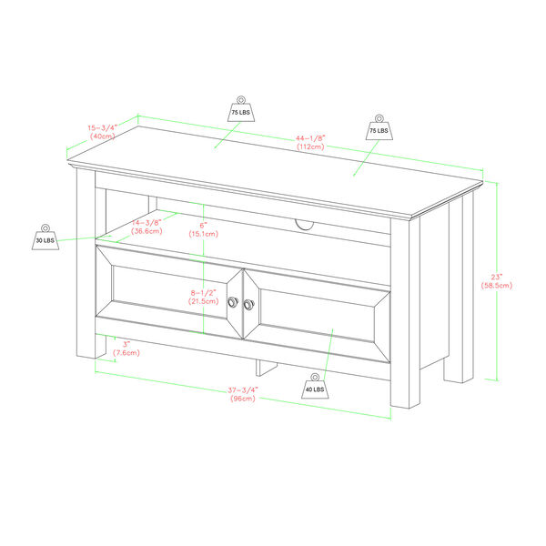 44-inch Wood TV Stand - Driftwood, image 2