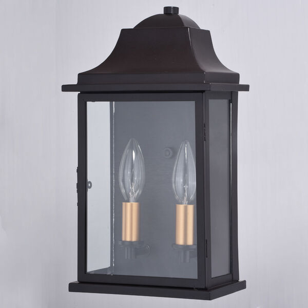 Bristol Oil Burnished Bronze and Light Gold Two-Light Outdoor Wall Sconce, image 2