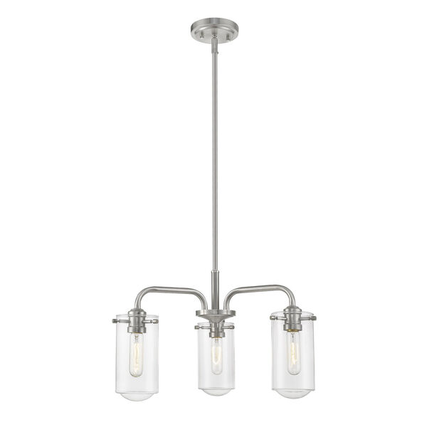 Delaney Brushed Nickel Three-Light Chandelier With Transparent Glass, image 1