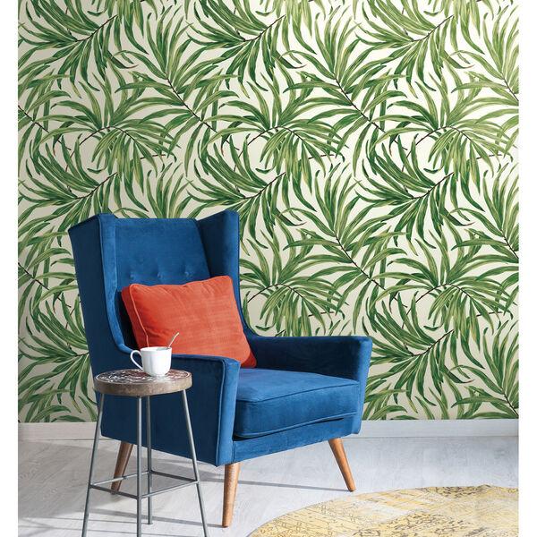 Ashford House Tropics White and Green Bali Leaves Wallpaper, image 2