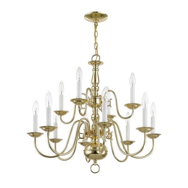 Williamsburgh Twelve-Light Polished Brass Chandelier, image 3