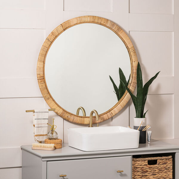 Blaise Natural Rattan 35-Inch x 35-Inch Wall Mirror, image 1