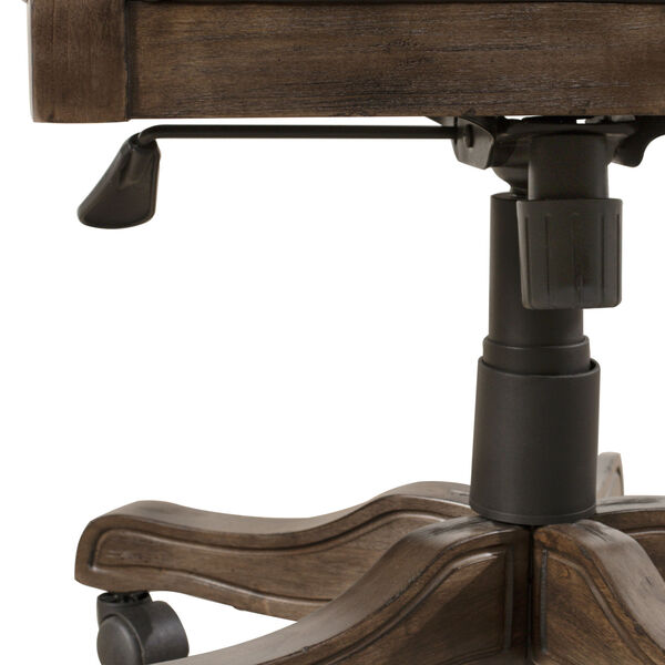 Kingston Weathered Walnut And Black Leather Wooden Desk Chair With Arm And Caster, image 5