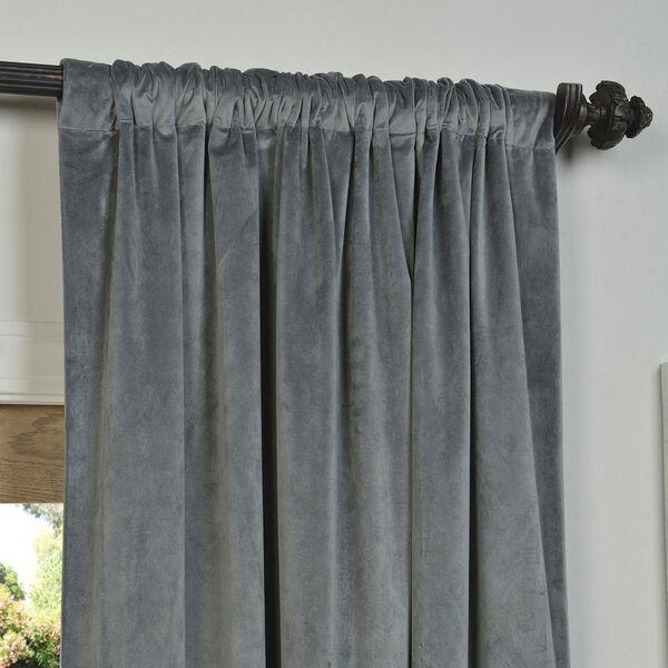 Natural Grey Blackout Velvet Pole Pocket Single Panel Curtain, 50 X 120, image 3