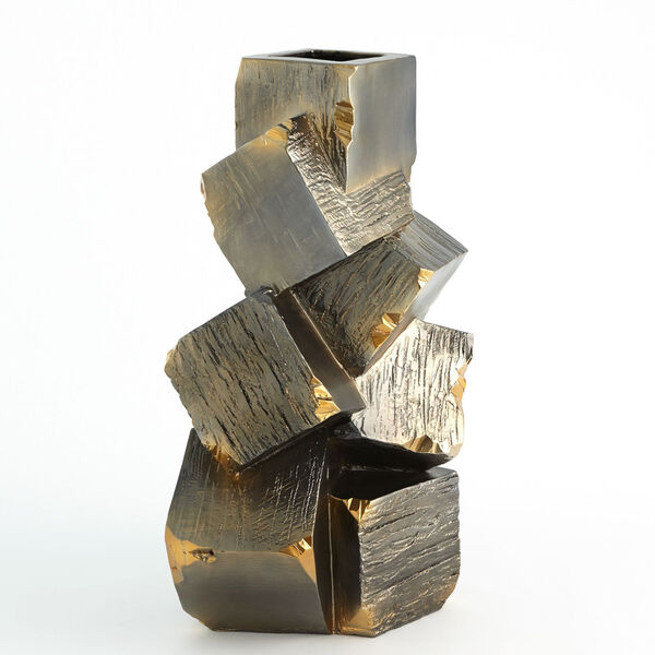 Black and Gold 12-Inch Faux Pyrite Vase, image 4