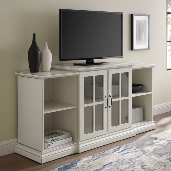Antique White 60-Inch Classic Two-Door Tiered TV Console, image 3