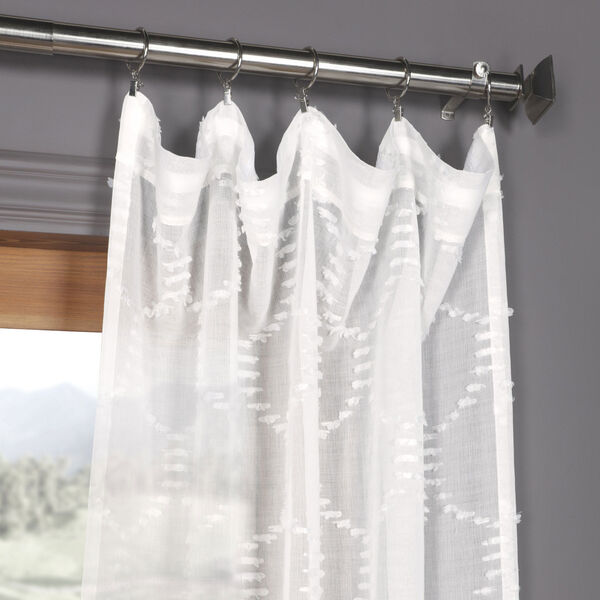White Shell Patterned Faux Linen Sheer 84 x 50 In. Curtain Single Panel, image 2