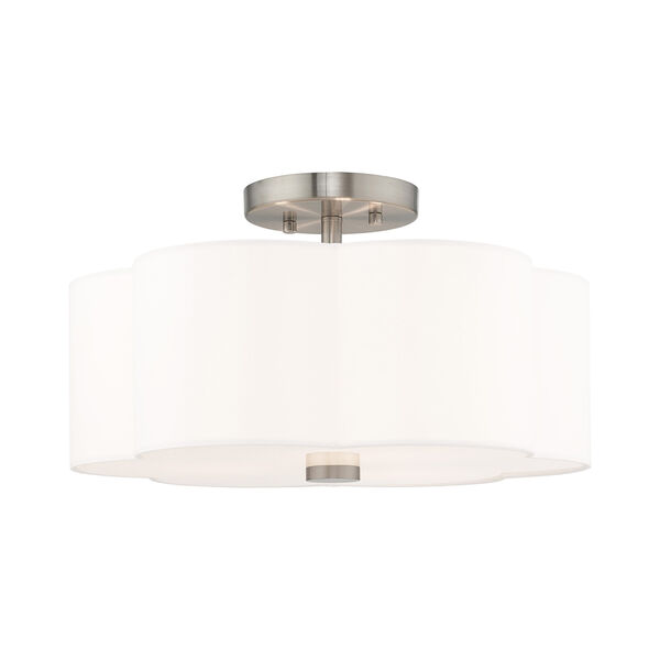 Chelsea Brushed Nickel 15-Inch Three-Light Ceiling Mount with Hand Crafted Off-White Hardback Shade, image 1