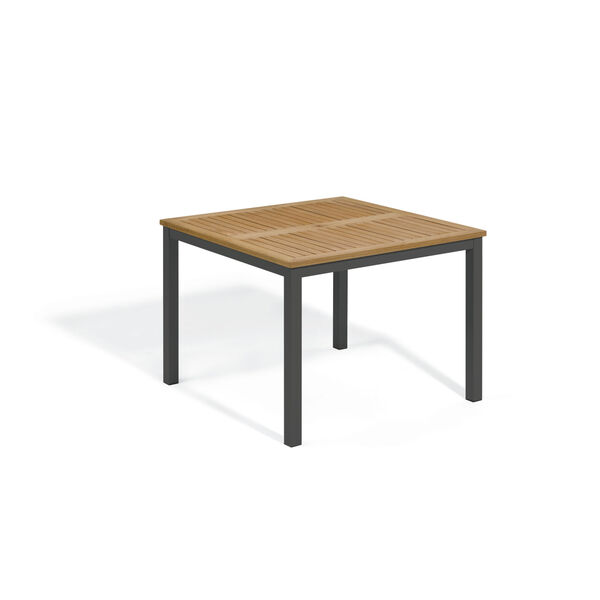 Travira Natural Tekwood Top and Carbon Powder Coated Aluminum Frame 39-Inch Square Dining Table, image 1