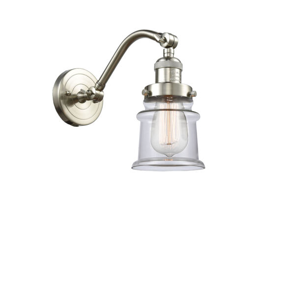 Franklin Restoration Brushed Satin Nickel 12-Inch LED Wall Sconce with Small Clear Canton Shade, image 1