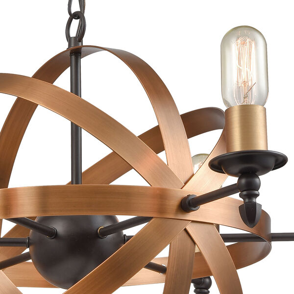 Kingston Oil Rubbed Bronze and Brushed Antique Brass Six-Light Chandelier, image 5