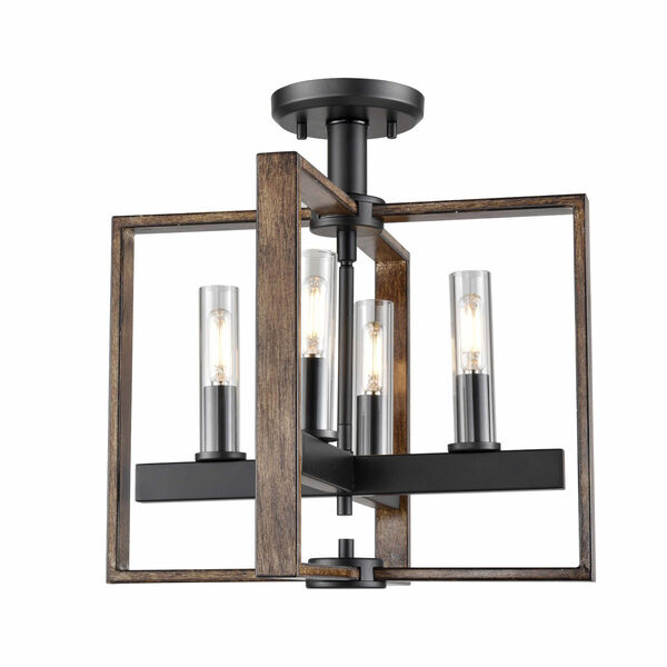 Blairmore Ironwood and Graphite Four-Light Semi-Flush Mount with Clear Glass, image 1