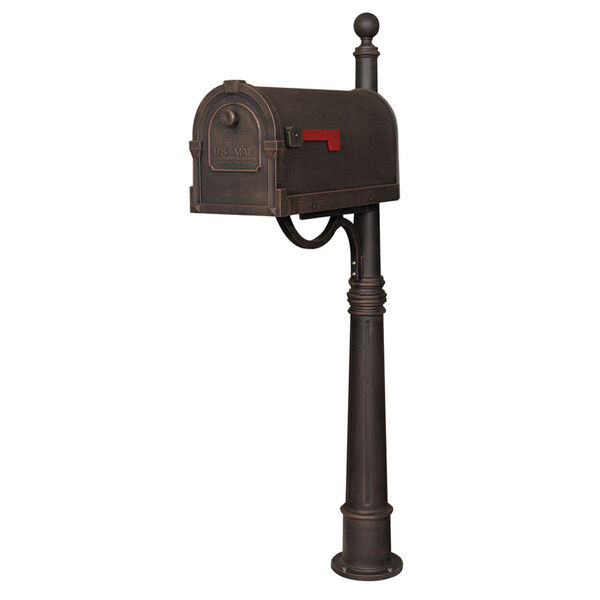 Savannah Copper Curbside Mailbox with Ashland Mailbox Post Unit, image 1