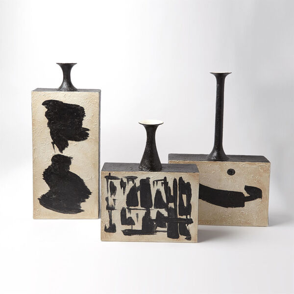 Studio A Home Cream and Black Thetis Vase with Long Neck, image 4