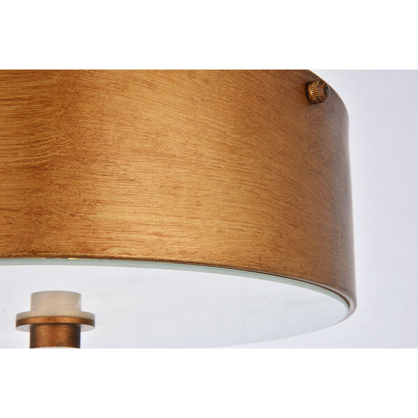 Hazen Vintage Gold and Frosted White Two-Light Flush Mount, image 4