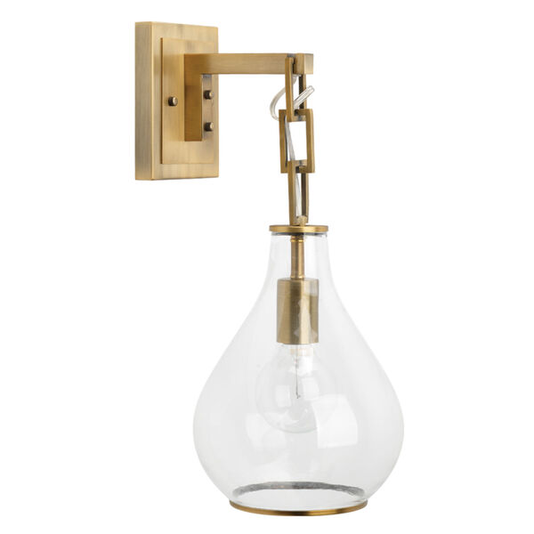 Clear Glass with Antique Brass One-Light Wall Sconce, image 3