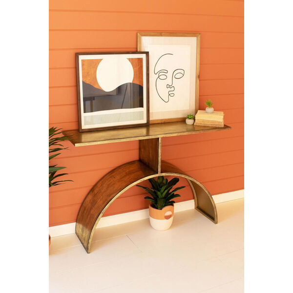 Antique Brass Console Table with Arched Base, image 2