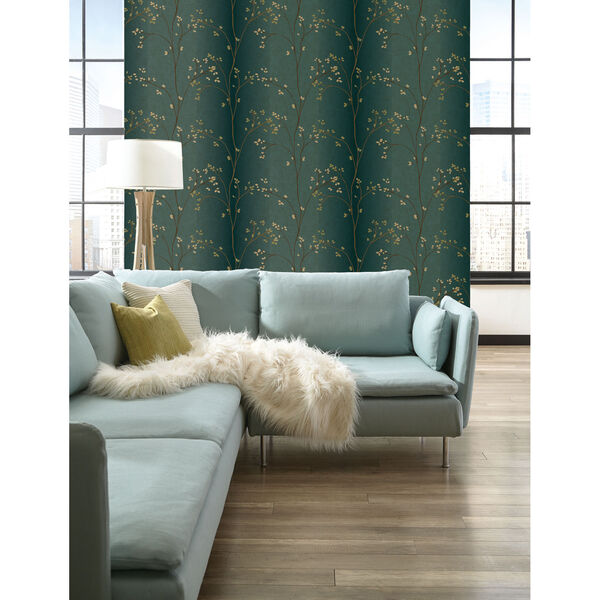 Inspired by Color Teal, Bronze Metallic and Powder Green Wallpaper, image 3