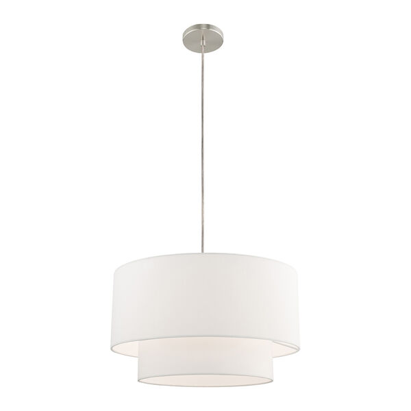 Clark Brushed Nickel 20-Inch One-Light Pendant Chandelier with Hand Crafted Off-White Hardback Shade, image 3
